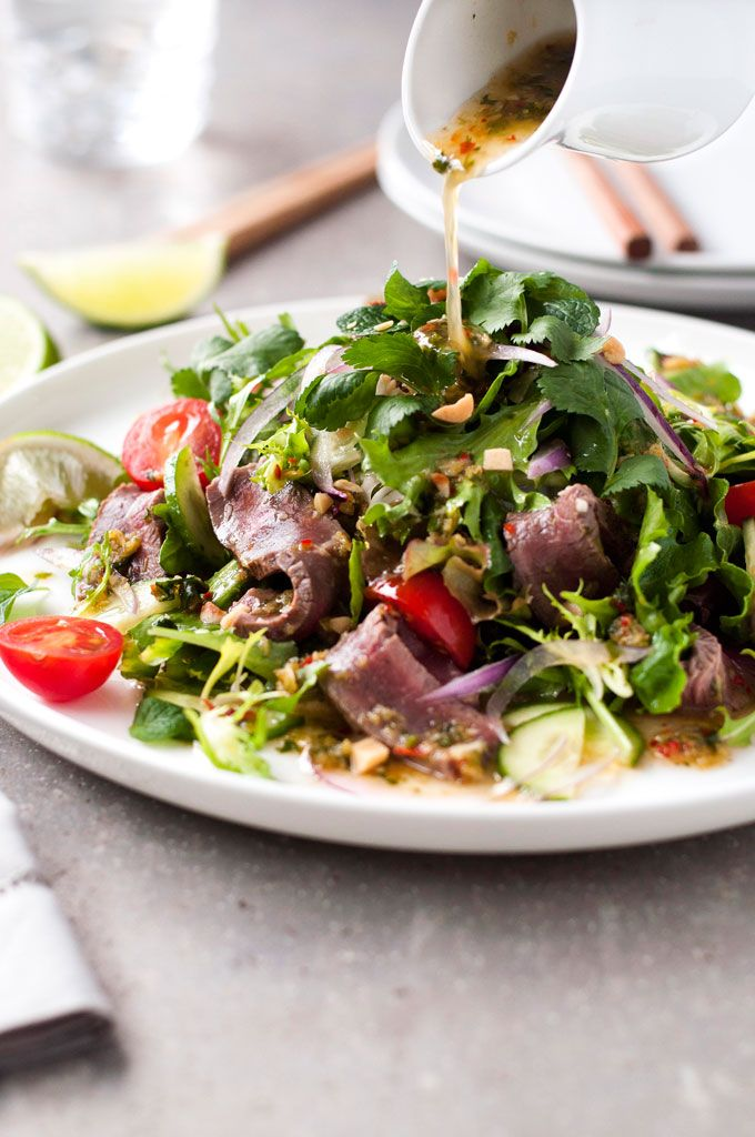 Thai Beef Salad: Dressing: ½ tsp sliced chili; 2 garlic cloves; 1 tbsp cilantro; salt; 2 tsp sugar; 2 tbsp fish sauce; 3 tbsp lime juice; 1 tbsp grape seed oil. Salad: 8 oz beef; ½ tbsp canola oil; Salt and pepper.