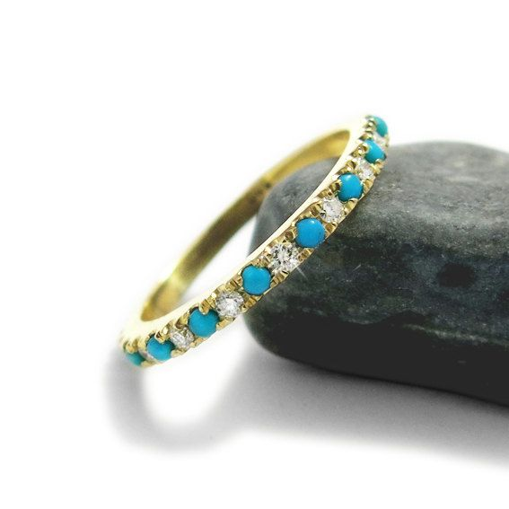 Turquoise Engagement Ring Diamond and Turquoise by JonJonJewel