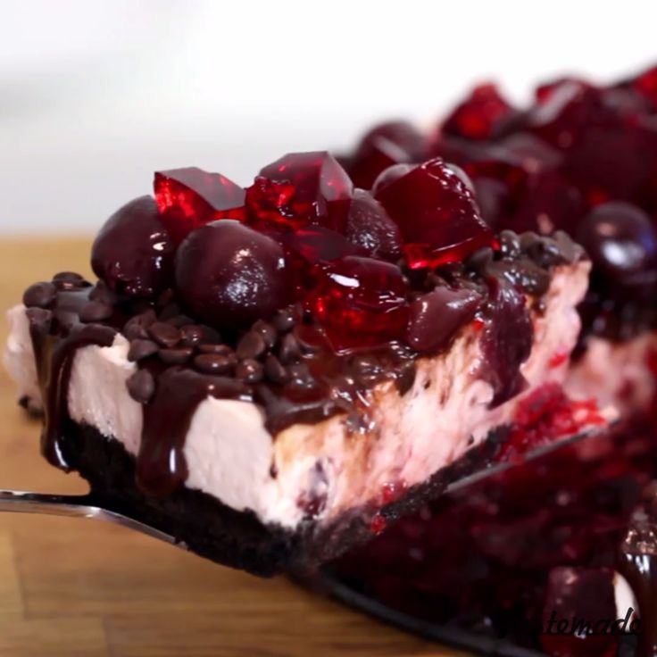 Topped with chocolate chips, cherries and jello, this dessert is packed with sweet goodness.