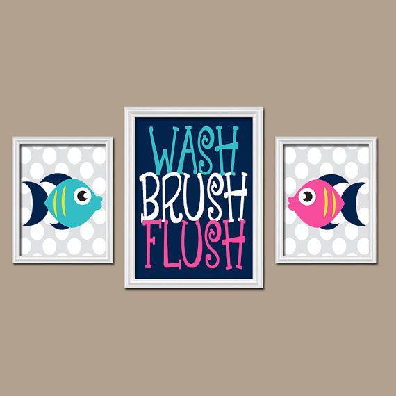 FISH BATHROOM Fish Wall Art Canvas or Prints Child by TRMdesign