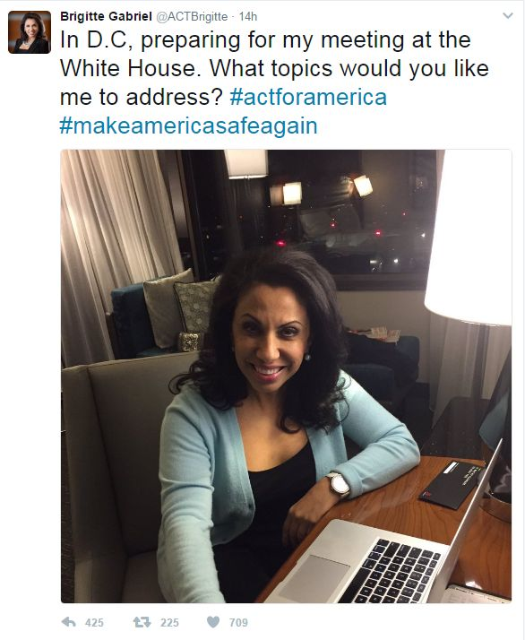 (WASHINGTON, D.C., 3/21/2017) - The Council on American-Islamic Relations (CAIR), the nation's largest Muslim civil rights and advocacy organization, today called on White House officials to cancel a reported meeting with anti-Muslim hate group leader Brigitte Gabriel.