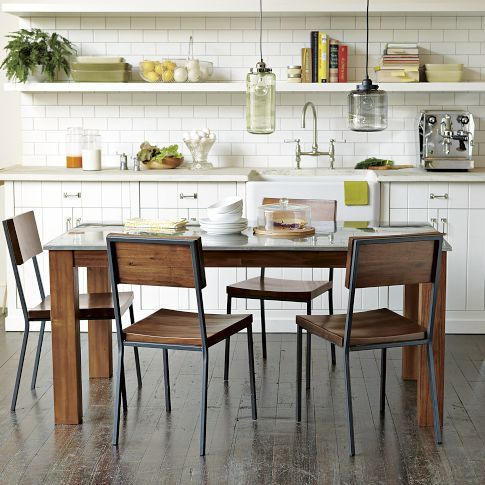 RUSTIC KITCHEN RECTANGULAR DINING TABLEIndustrial Kitchens, Dining Chairs, Subway Tile, Kitchens Dining, Kitchens Tables, Rustic Kitchens, Dining Tables, West Elm, White Kitchens