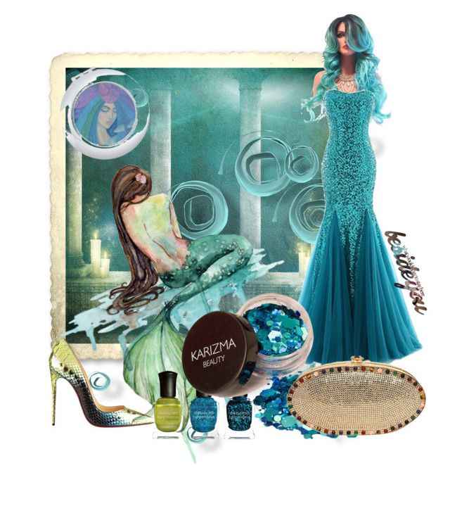 """""""Mermaids"""" by rita257 ❤ liked on Polyvore featuring WALL, Deborah Lippmann, Christian Louboutin and Judith Leiber"""