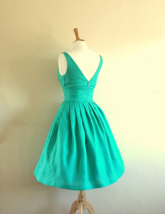 Turquoise Linen Tiffany Prom Dress  made by Dig by digforvictory, £102.00