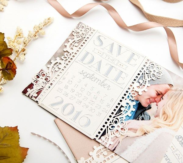 """I love this lace over the photo made with the Cricut Explore!  To find this in a search use the title """"Vintage Save the Date."""""""