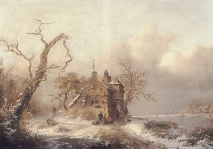Frederik Marianus Kruseman - Figuren in een winterlandschap