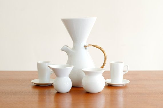 Rare complet moderniste Kenji Fujita pour Freeman Lederman verseuse café céramique Set - Lagardo Tackett Era