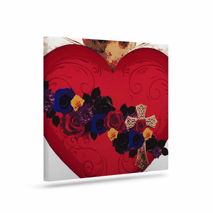 "Oriana Cordero ""Sacred Heart For Frida"" Red Purple Canvas Art"