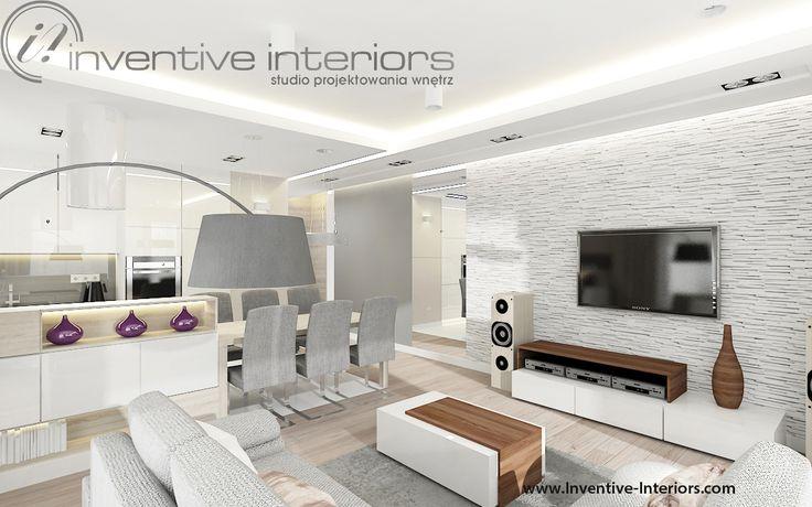 Projekt salonu z aneksem kuchennym Inventive Interiors - biały kamień na ścianie w salonie