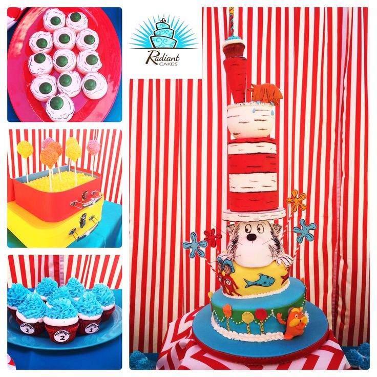 Dr. Seuss Party, Cake, Green Eggs Oreos, Cake pops and cupcakes made by Radiant Cakes!  Instagram: @radiantcakes  Facebook: www.facebook.com/radiantcakes