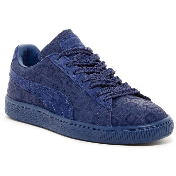 PUMA Suede Classic Square Sneaker ($50) ❤ liked on Polyvore featuring shoes, sneakers, blue, blue suede sneakers, blue shoes, puma sneakers, blue sneakers and round cap