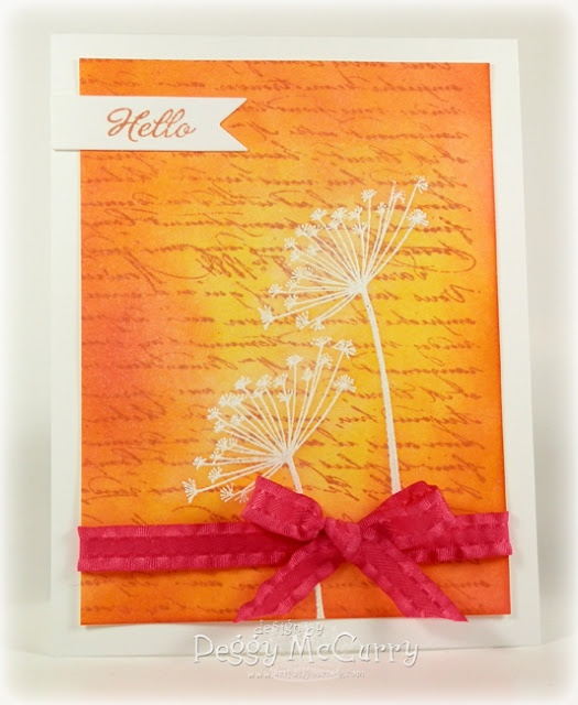 bright and beautiful handmade card ... flowers embossed in white ... script stamped ... red and yellow Distress Inks sponged on to make a sunset effect ... stunning!!