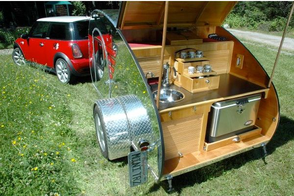 Mini Cooper and a Tear Drop Camper Trailer.. what more could one ask for out of life??