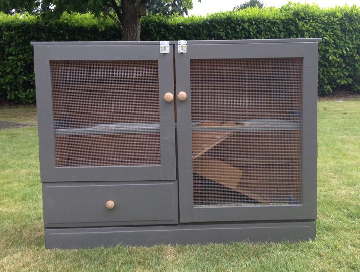 Rabbit hutch from old dresser simple but classy for Simple rabbit hutch