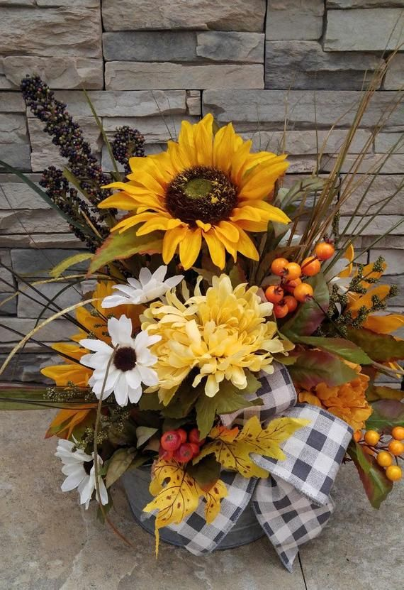 This Handcrafted Arrangement Features A Round Galvanized Container Filled With Large Yel Sunflower Arrangements Fall Flower Arrangements Sunflower Centerpieces
