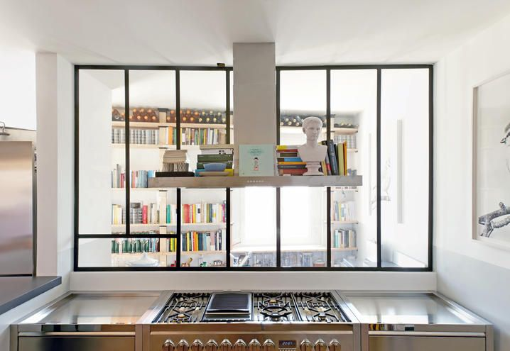 Books everywhere, also in the kitchen, in this house in Rome