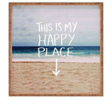 Leah Flores 'Happy Place' Beach Square Tray - beach-style - Serving Dishes And Platters - DENY Designs