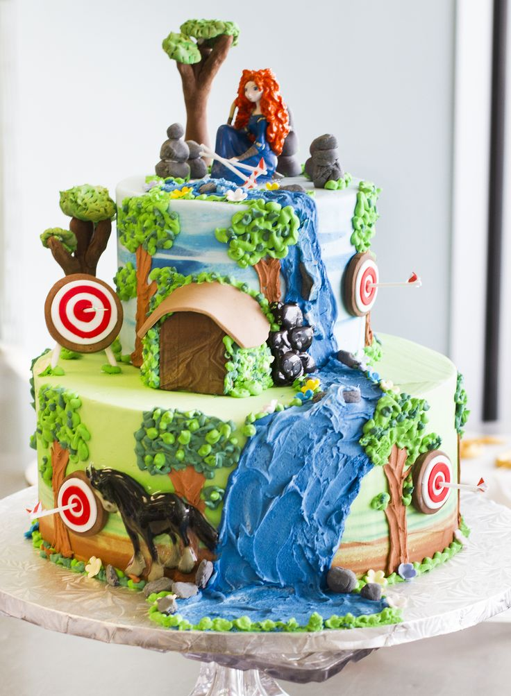 """A """"Brave"""" themed birthday cake with Merida on top! Cake # 035."""