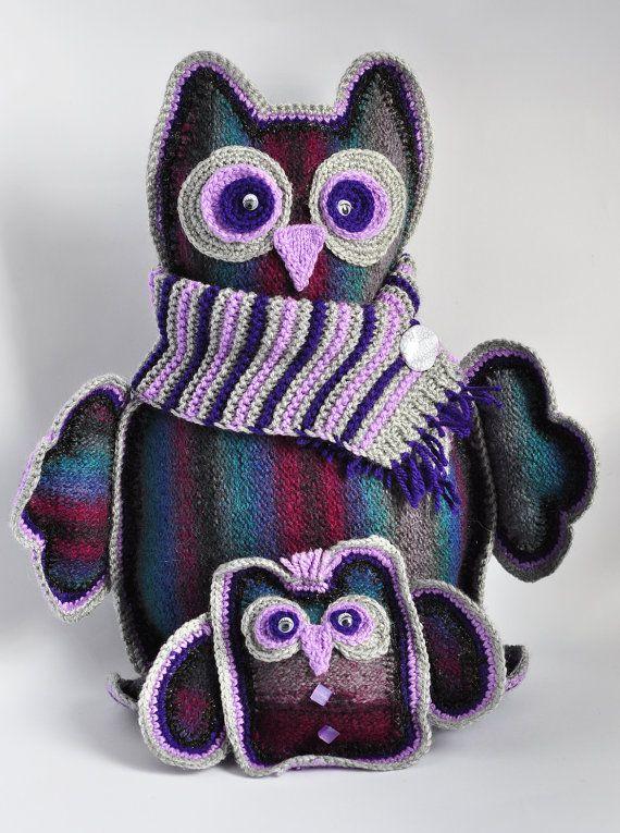 Ручной вязки Мягкие игрушки Заполненные Животные Фиолетовые Совы по Monpasier