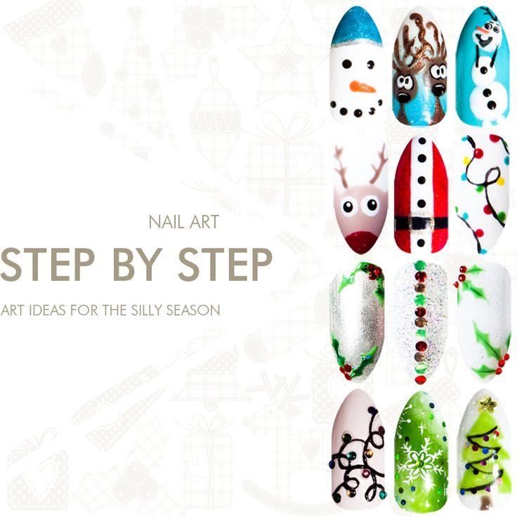 Bio Sculpture Gel Christmas nail art - hand painted gel nail art for the silly season