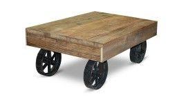 table basse style industriel bois roues metal