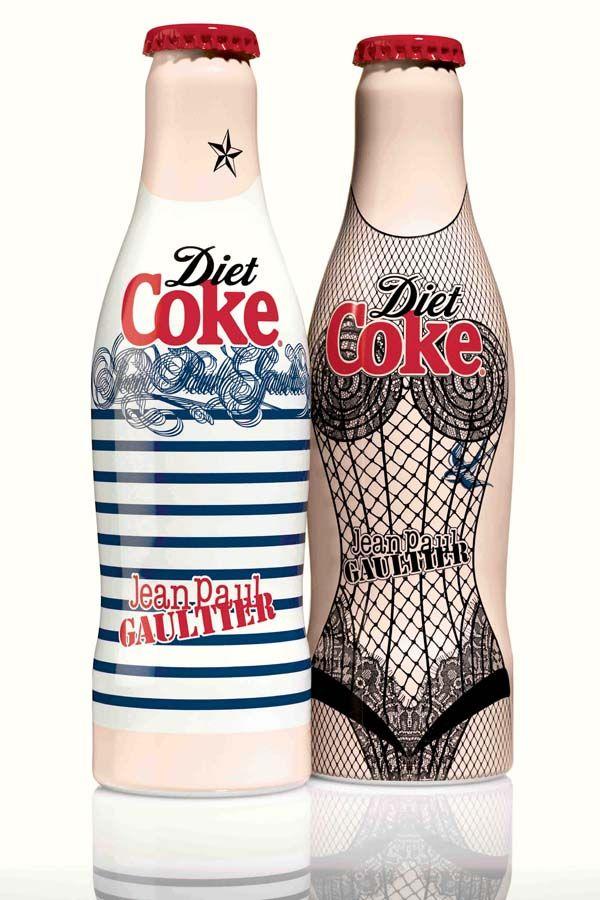 Jean Paul Gaultier Tasarımı Diet Coke Şişeleri: Lights Jeans, Breton Stripes, Cocacola, Jeans Paul Gaultier, Soft Drinks, Bottle Design, Coca Cola Bottle, Weights Loss, Diet Coke