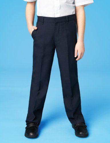 2 Pack Boys' Outstanding Value Flat Front Trousers with Stormwear™ and Crease Resistance-Marks & Spencer