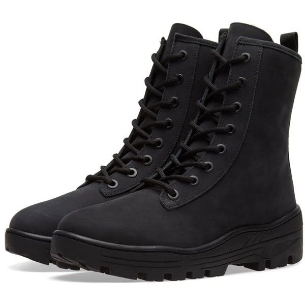 Yeezy Season 5 Combat Boot ($250) ❤ liked on Polyvore featuring shoes, boots, pointed lace up boots, lace up combat boots, military boots, laced up boots and front lace up boots