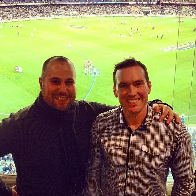 The @hook_media boys taking in the Collingwood v Carlton match at the MCG in style. Two very happy @collingwood_fc supporters.