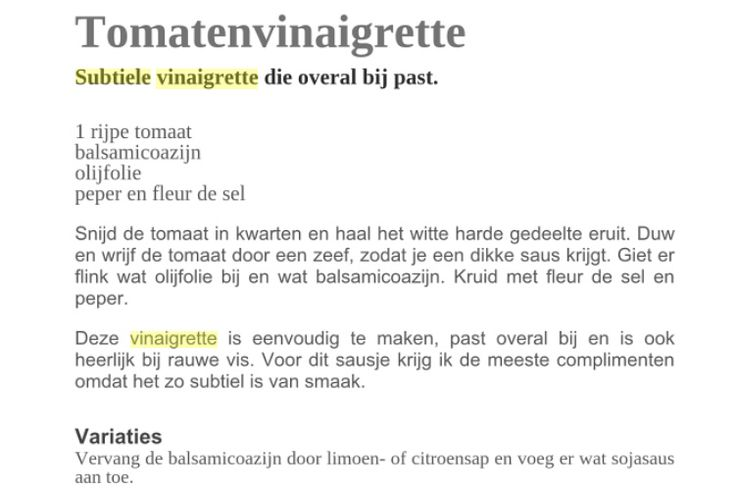 Tomatenvinaigrette. Receptje van Pascale Naessens