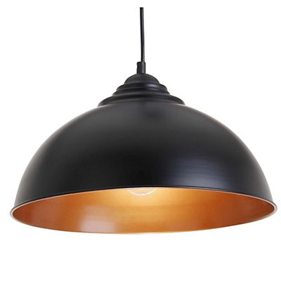 lewe suspension lectrifi e en m tal noir et cuivre d34cm luminaire pinterest. Black Bedroom Furniture Sets. Home Design Ideas