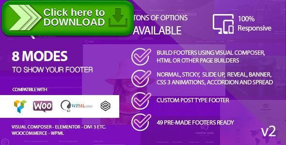 [ThemeForest]Free nulled download Smart Footer System - Footer Plugin for Wordpress from http://zippyfile.download/f.php?id=53940 Tags: ecommerce, custom footer wordpress, edit footer with visual composer, edit footer wordpress, footer plugin wordpress, footer visual composer, free layout footer plugin, mega footer, page builder footer, reveal footer, slide up footer, sticky footer, sticky footer plugin, visual composer footer, woocommerce footer, wordpress footer