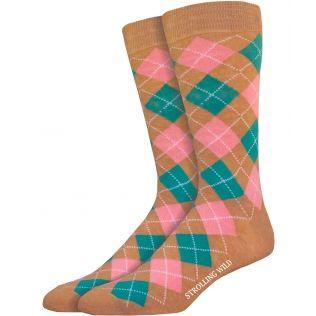 Tan, Pink & Teal Argyle Socks for Men