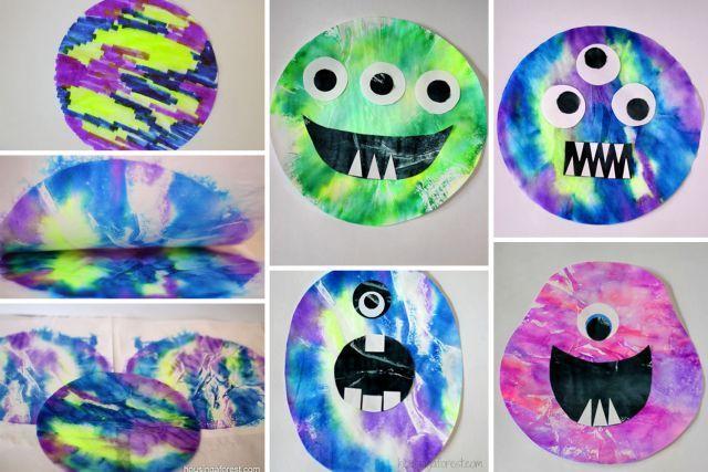 Bricolage avec des filtres à café - Monstres multicolores