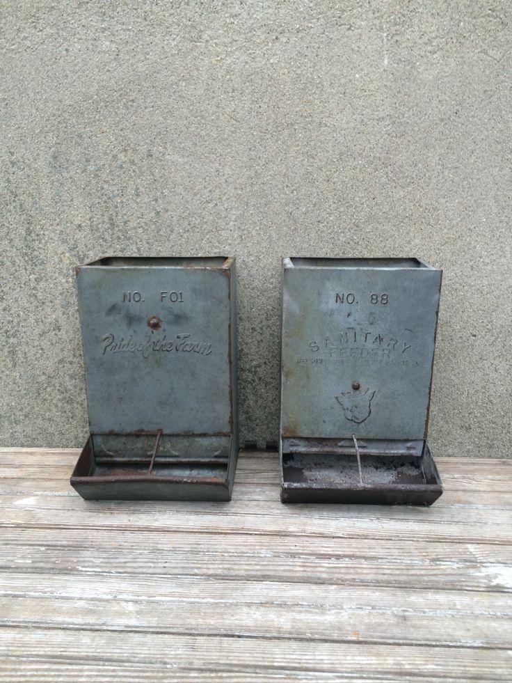 Vintage Galvanized Metal Fence Top Finial Fence Post: Vintage Galvanized Metal Farm Chicken Pig Feeders
