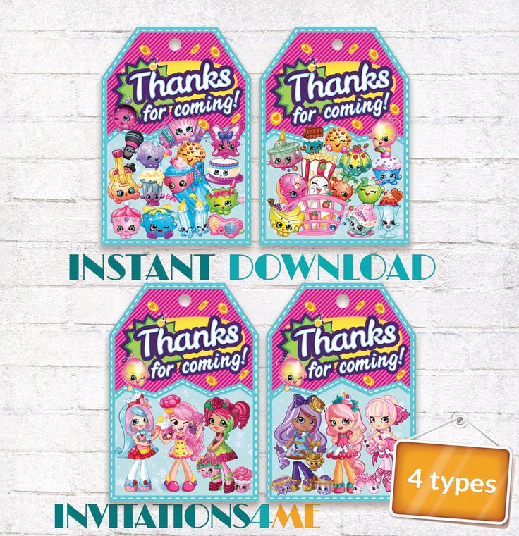 Shopkins Favor Tags Shopkins Thank you Labels Shopkins Birthday Party matching Invitation Customized Digital File by INVITATIONS4ME on Etsy