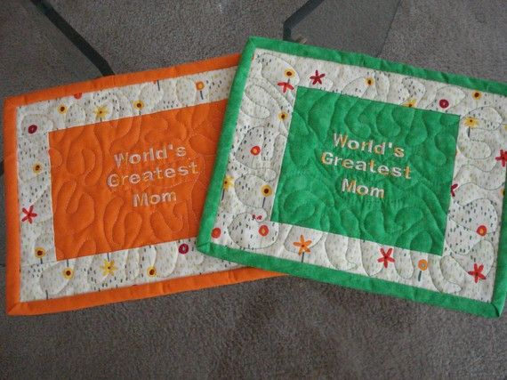 Quilted Mug Rug World's Greatest Mom  Set of 2 by MurphysHouse, $18.00