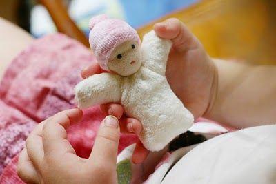 Pocket Doll made from solo kid socks, like a mini Waldorf doll.