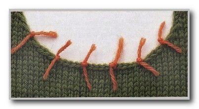 Курс вязания спицами. Сборка изделий. Набор петель из кромки полотна: