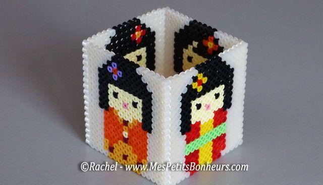 Kokeshi pencil holder hama beads