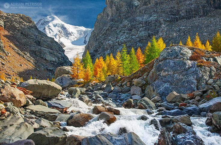 Autumn landscape in Alps Switzerland.