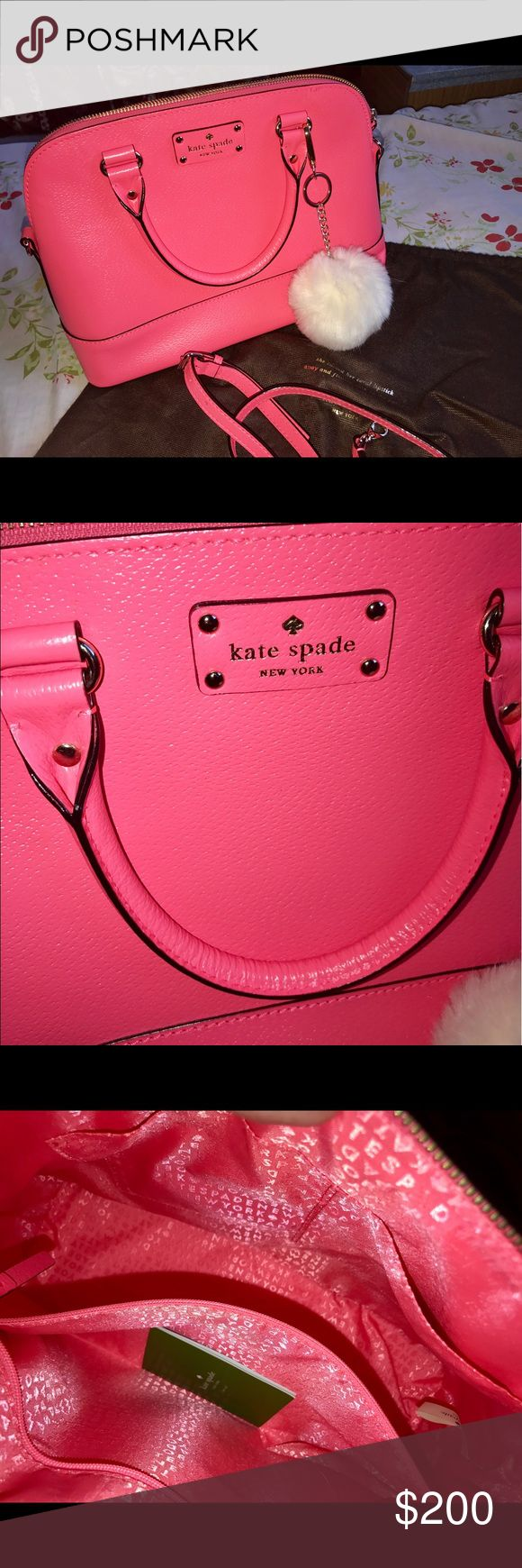 Pink Kate spade purse Brand new never used no tags do dirt or stain dust bag include and removable strap kate spade Bags Shoulder Bags