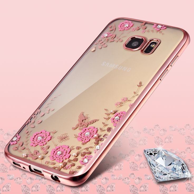 Plating Diamond Clear Flower 3D Case Protector For Samsung galaxy S5 S6 S7 Edge Plus case cover flower Back Shell