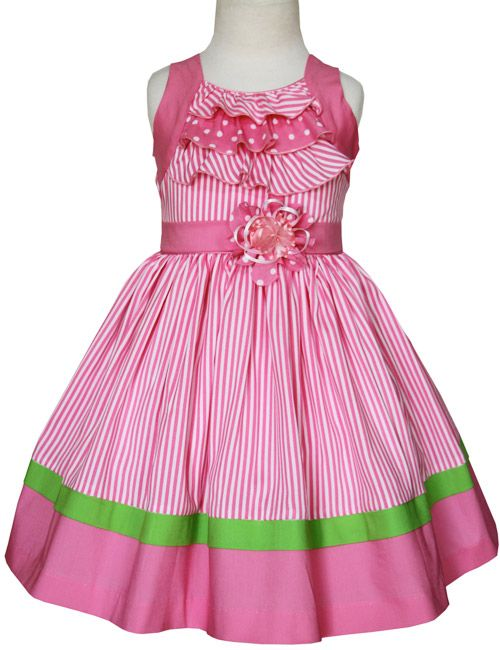 Girls pink striped summer dress with ruffles and polka dot, made in 100% cotton, lined.