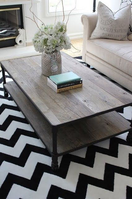 The chevron design rug gives a little pop to this charming room