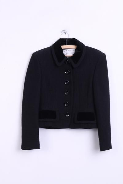 Jaeger Womens 8 10 S / M Jacket Blazer Black Bal Collar Single Breasted - RetrospectClothes