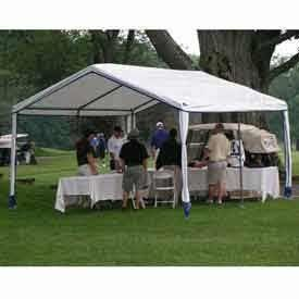 14'W X 27'L X 9'H Party Canopy, White With Blue Trim . $386.95. 14'W x 27'L x 9'H Party Canopy, White With Blue Trim Why rent when you can own for the same price? Rhino Shelter party Canopy are Perfect for Weddings, Lawn Parties, Sporting Events, Show Booth, and Impromptu Gatherings! Units can be positioned end to end or side to side for larger space requirements. All fabric components are CPAI-84 Fire rated for public gatherings.