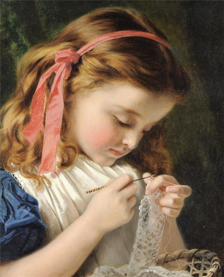 "Sophie Anderson (British 1823-1903) ""The Little Lace Maker"""
