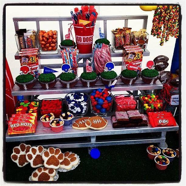 Football bleachers for Fresno State Bulldogs Candy & dessert buffet (bleachers can be customized for any sport)