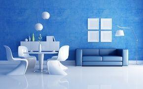 Обои комната, диван, интерьер, стол, вазы, стулья, синий